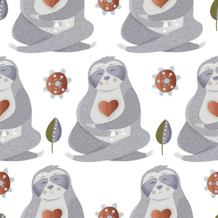 Cute sloth meditates among flowers. Yoga cartoon vector seamless pattern in a flat style. Slow lazy animal nature kid print on a white background. Ilustração