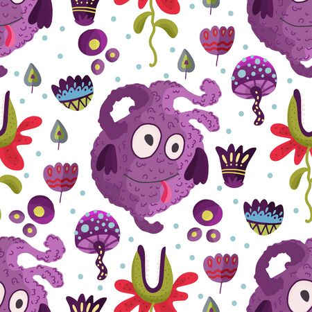 Cute cartoon purple monster vector seamless pattern in a flat style. Funny kid alien character background. Mutant beast animal comic wallpaper on a white background.