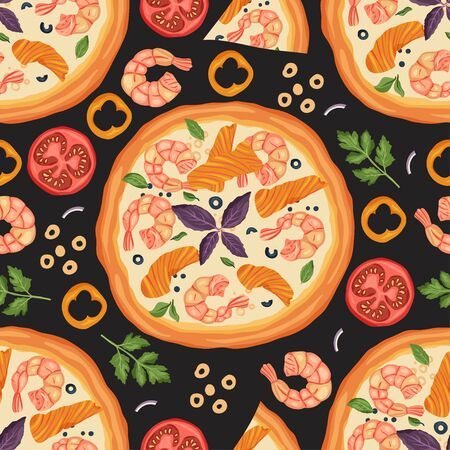 Italian cheese seafood pizza vector seamless pattern illustration. Delicious tasty snack with shrimp, tomato, pepper and salmon red fish. Flat design.