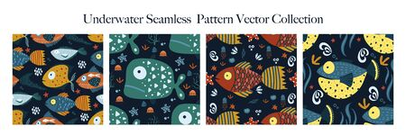 Underwater cartoon funny fish seamless animal vector pattern set. Ornate kid sea illustration in a flat style. Tropical ocean cute summer background collection.