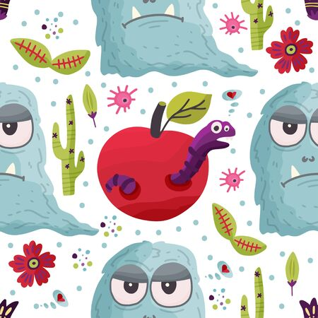 Cute cartoon monster with apple and worm caterpillar vector seamless pattern in a flat style. Funny kid alien character background. Mutant beast animal comic wallpaper on a white background. Ilustração