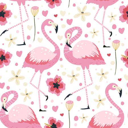 Flamingo bird couple in love on white. Vector seamless pattern. Cartoon tropical summer background with pink exotic jungle animal, tropic palm and flowers. Kid illustration. Ilustração
