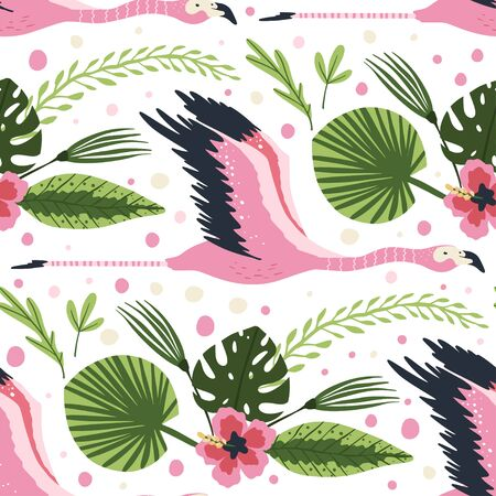 Flying  flamingo bird vector seamless pattern. Cartoon tropical summer background with pink exotic jungle animal, tropic palm and flowers. Kid illustration. Ilustração