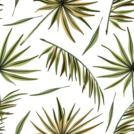 Realistic colorful tropical palm leaves vector seamless pattern. Jungle botanical summer background. Exotic green nature wallpaper. Ilustração