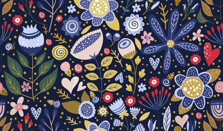 Floral ornate seamless cartoon pattern. Summer vector vintage background. Textured  flower summer illustration. Decorative botanical drawing.