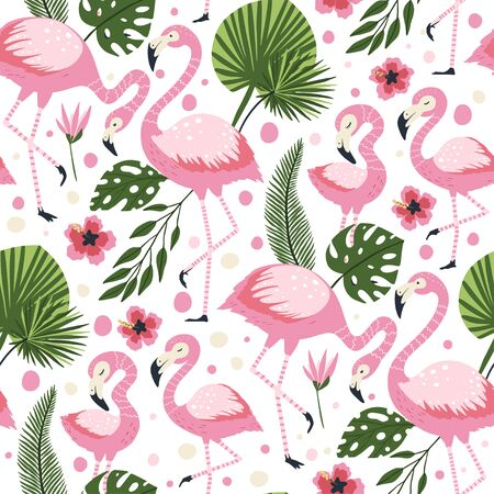 Flamingo bird vector seamless pattern. Cartoon tropical summer background with pink exotic jungle animal family, tropic palm and flowers. Kid illustration.