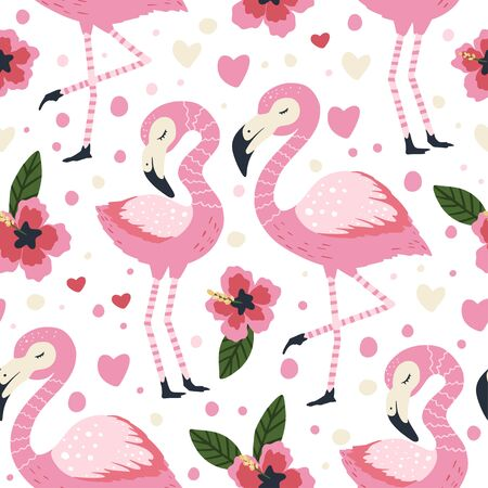 Little flamingo bird vector seamless pattern. Cartoon tropical summer background with pink exotic jungle animal, tropic palm and flowers. Kid illustration.