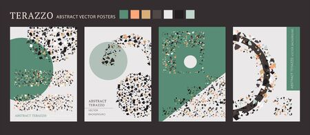 Vector terrazzo interior poster. Cool shape composition set. Abstract contrast textured background done from real broken small tile chips. Modern color marble art card collection for print and web.