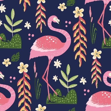 Tropical white flamingo bird seamless summer pattern. Exotic ornate vector wallpaper with pink wild animals and jungle floral illustraions on a pink background. 向量圖像