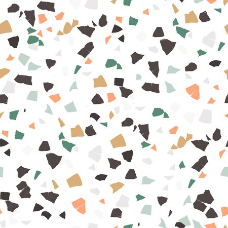 Vector terrazzo seamless pattern. Abstract textured background done from real broken small tile chips. Modern stone color pastel marble wallpaper for print and web.