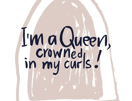 Im a Queen, crowned in my curls. Black lives matter. Vector lettering design poster. Hand drawn textured quote. 向量圖像