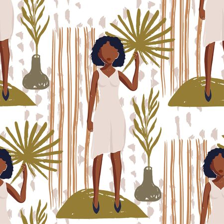 African American Pretty Girl Seamless Vector Pattern. Black Beauty Hand Drawn Textured Tropical Botany Summer Illustration of Black Woman. Fashion Background on White.
