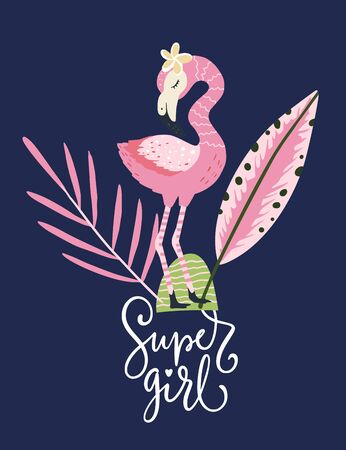 Super girl. Pink flamingo bird vector card. Tropical cute summer poster with hand drawn lettering quote and cartoon kid illustration.