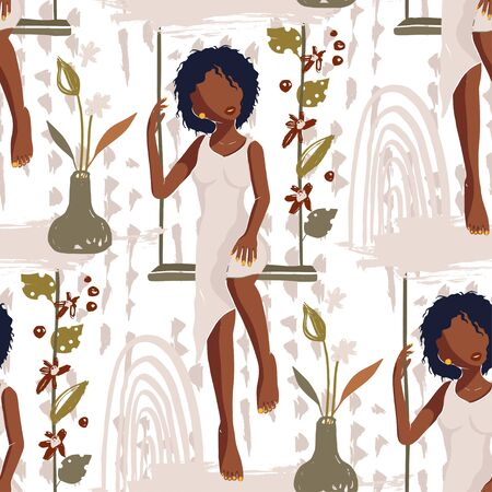 African American Pretty Girl Seamless Vector Pattern. Black Beauty Hand Drawn Textured Tropical Botany Summer Illustration of Black Woman on a Swing. Fashion Background on White. 向量圖像
