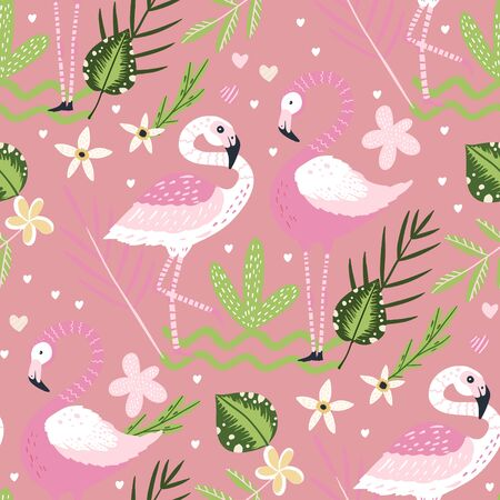 Tropical white flamingo bird seamless summer pattern. Exotic ornate vector wallpaper with pink wild animals and jungle floral illustrations on a pink background.