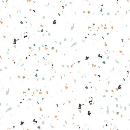 Modèle sans couture de terrazzo de vecteur. Fond texturé abstrait fait de vrais petits éclats de carreaux cassés. Papier peint en marbre pastel de couleur pierre moderne pour l'impression et le Web. Vecteurs