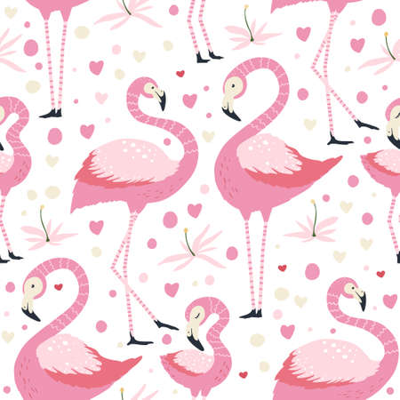 Flamingo bird couple in love. Vector seamless pattern. Cartoon tropical summer background with pink exotic jungle animal family, tropic palm and flowers. Kid illustration.