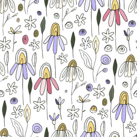 Floral chamomile doodle seamless vector pattern. Flower summer hand drawn background with trendy nature abstract sketch illustration with saving real texture.