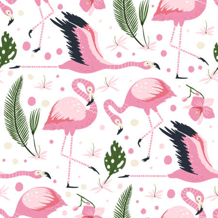 Flamingo bird vector seamless pattern. Cartoon tropical summer background with pink exotic jungle animal, tropic palm and flowers. Kid illustration.