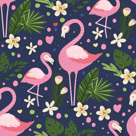 Flamingo bird vector seamless pattern. Cartoon tropical summer background with pink exotic jungle animal, tropic palm and flowers. Mother and baby kid illustration.