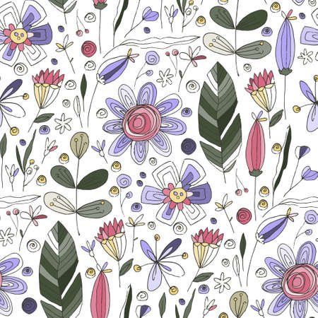 Floral doodle seamless vector pattern. Wild flower summer hand drawn background with trendy nature abstract sketch illustration with saving real texture.