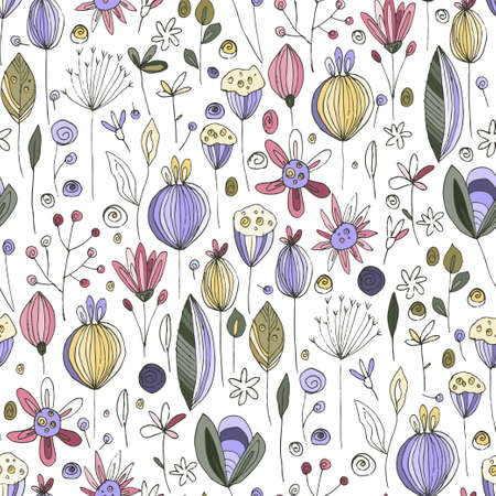 Floral doodle poppy seamless vector pattern. Flower summer hand drawn background with trendy nature abstract sketch illustration with saving real texture. 向量圖像