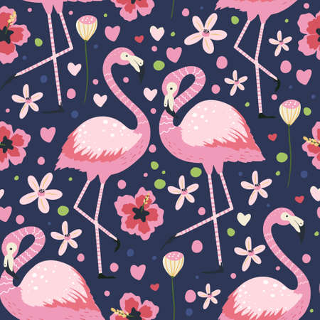 Flamingo bird couple in love. Vector seamless pattern. Cartoon tropical summer background with pink exotic jungle animal, tropic palm and flowers. Kid illustration.