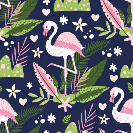 Tropical white flamingo bird seamless summer pattern. Exotic ornate vector wallpaper with pink wild animals and jungle floral illustrations on a dark background.