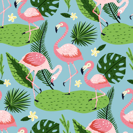 Tropical white flamingo bird seamless summer pattern. Exotic ornate vector wallpaper with pink wild animals and jungle floral illustrations on a blue background. 向量圖像