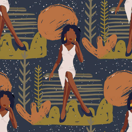African American Pretty Girl Seamless Vector Pattern. Female Black Beauty Hand Drawn Textured Tropical Summer Illustration of Black Woman. Fashion Background.