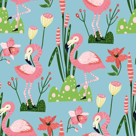 Tropical pink flamingo bird seamless summer pattern. Exotic ornate vector wallpaper with pink wild animals and jungle floral illustrations on a blue background. 向量圖像