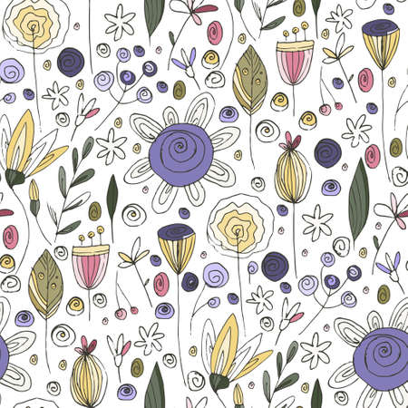 Floral doodle seamless vector pattern. Flower summer hand drawn background with trendy nature abstract sketch illustration with saving real texture.
