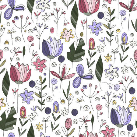 Floral doodle seamless rose vector pattern. Flower summer hand drawn background with trendy nature abstract sketch illustration with saving real texture. 向量圖像