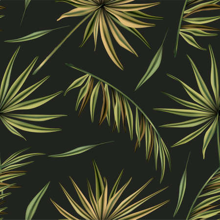 Realistic colorful tropical palm leaves vector seamless pattern. Jungle botanical summer background. Exotic green nature wallpaper. 向量圖像
