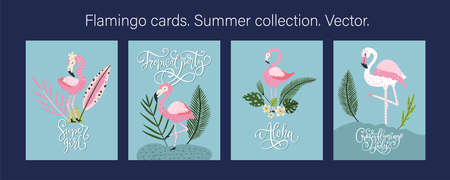 Pink flamingo bird vector card set. Tropical cute summer poster collection with hand drawn lettering quote and cartoon kid illustration.