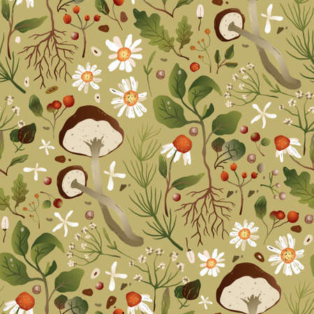 Floral and mushroom seamless vector pattern. Textile chamomile flower design. Romantic forest wallpaper.