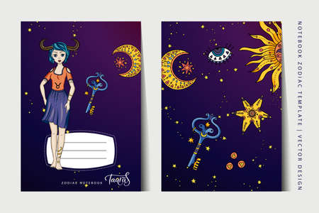 Zodiac Taurus girl notebook vector template. Book layout for a3, a4, a5 paper size. School education art. Astrology woman, horoscope symbol. Cover page design.