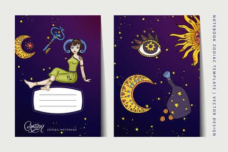 Zodiac Capricorn girl notebook vector template. Book layout for a3, a4, a5 paper size. School education art. Astrology woman,  horoscope symbol. Cover page design.