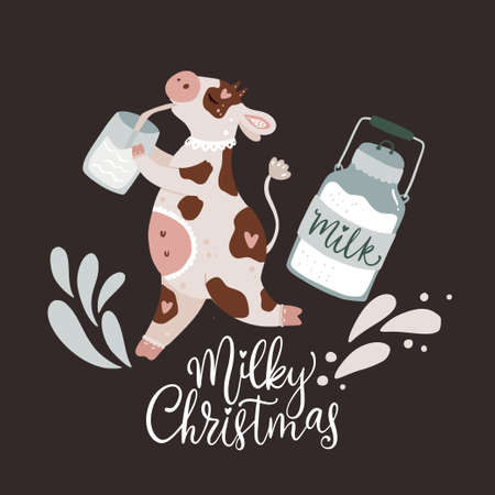 Christmas cute cartoon cow vector illustration with hand drawn lettering - Milky Christmas. Animal comic card with milk. New Year 2021.  Illustration