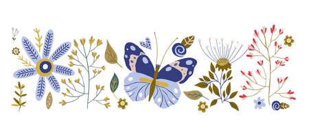 Hand drawn vector floral illustration.