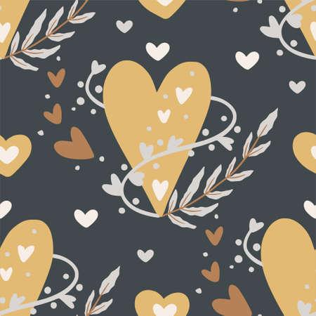 Heart seamless vector pattern.