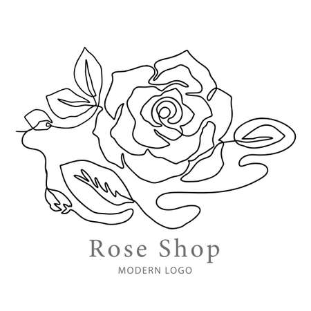 Outline rose one line flower and poster art. Abstract vector plant trendy icon. Modern nature beauty romantic shape.