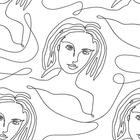 One line seamless modern pattern. Vector illustration. Minimalist minimal young woman face simplicity artwork.
