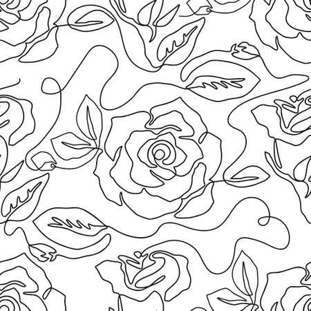 One line seamless modern pattern. Rose flower modern simplicity vector illustration. Contemporary art