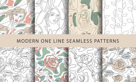 One line modern pattern. Vector illustration. Minimalist minimal young woman simplicity artwork set.