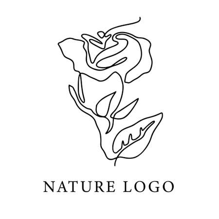 Outline rose one line flower logo and poster art. Abstract vector plant trendy icon. Modern nature beauty romantic shape.