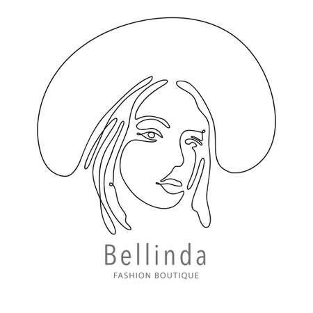Woman face one line contour modern  . Female girl abstract beauty portrait fashion elegant vector icon. Linear single line art romantic lady in a hat. Simplicity black silhouette design.