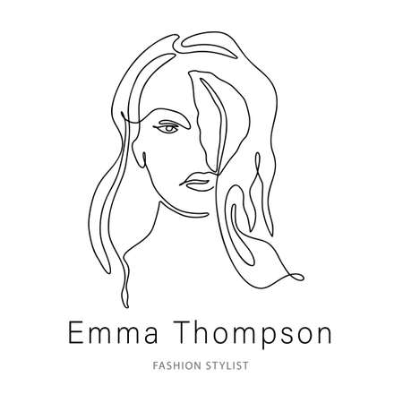 Woman face one line contour modern  . Female girl abstract beauty portrait fashion elegant vector icon. Linear single line art romantic lady and leaf silhouette design.