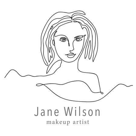 Woman face one line contour modern  . Female girl abstract beauty portrait fashion elegant vector icon. Linear single line art romantic lady. Simplicity black silhouette design.