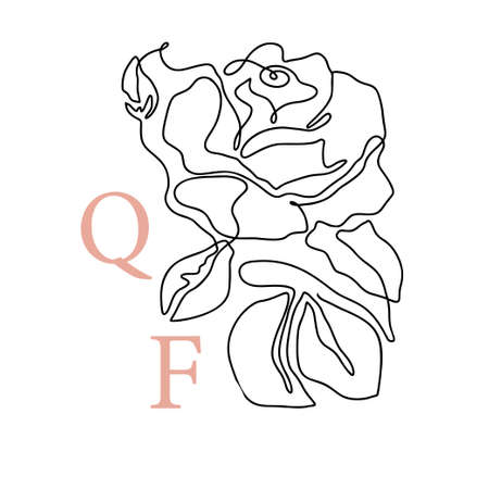 Outline rose one line flower  and poster art. Abstract vector plant trendy icon. Modern nature beauty romantic shape. 矢量图像
